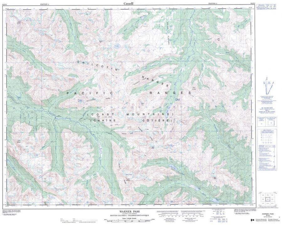 Warner Pass - 92 O/3 - British Columbia Map