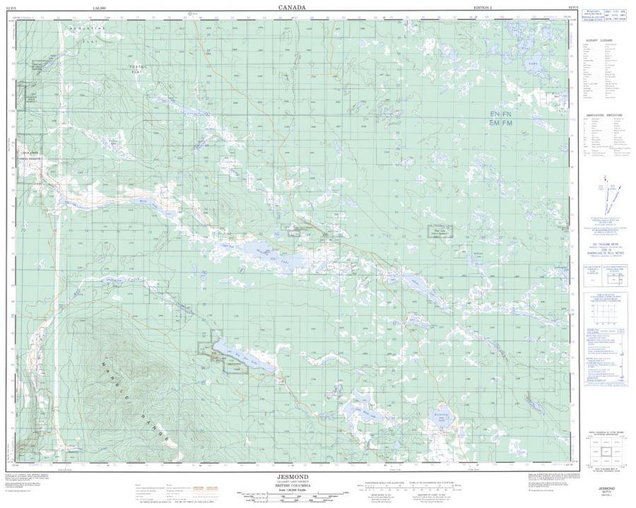 Jesmond - 92 P/5 - British Columbia Map