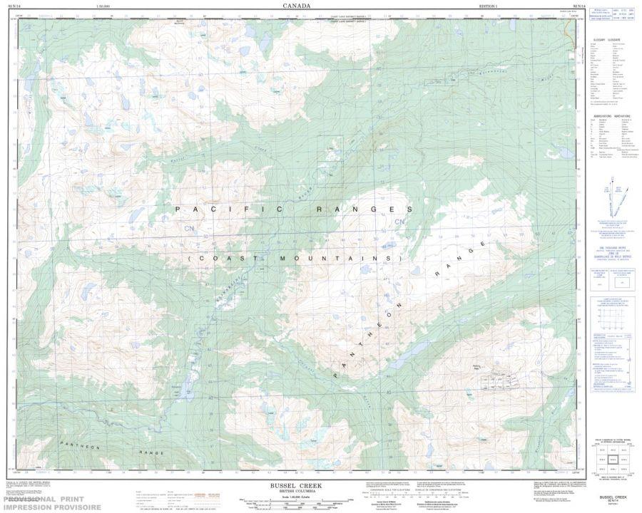 Bussel Creek - 92 N/14 - British Columbia Map