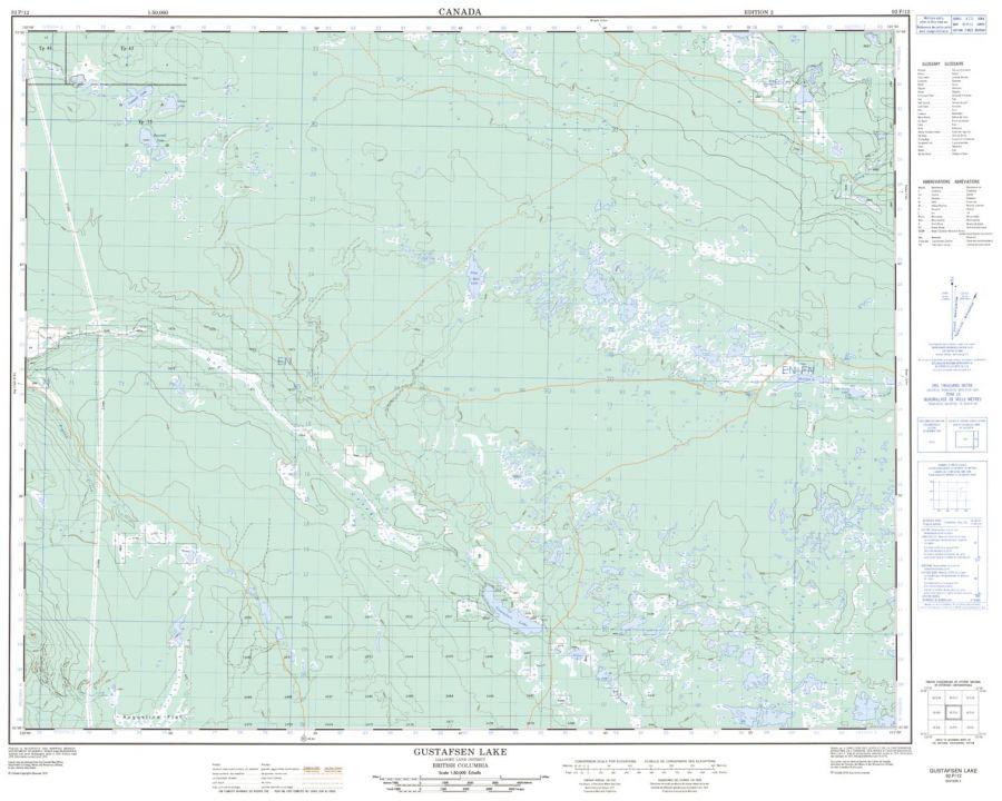 Gustafsen Lake - 92 P/12 - British Columbia Map