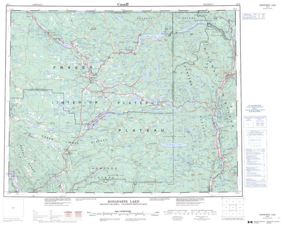 Bonaparte Lake - 92 P - British Columbia Map