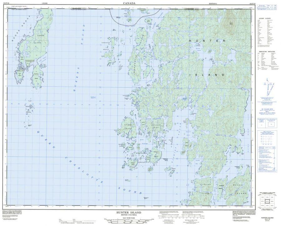 Hunter Island - 102 P/16 - British Columbia Map