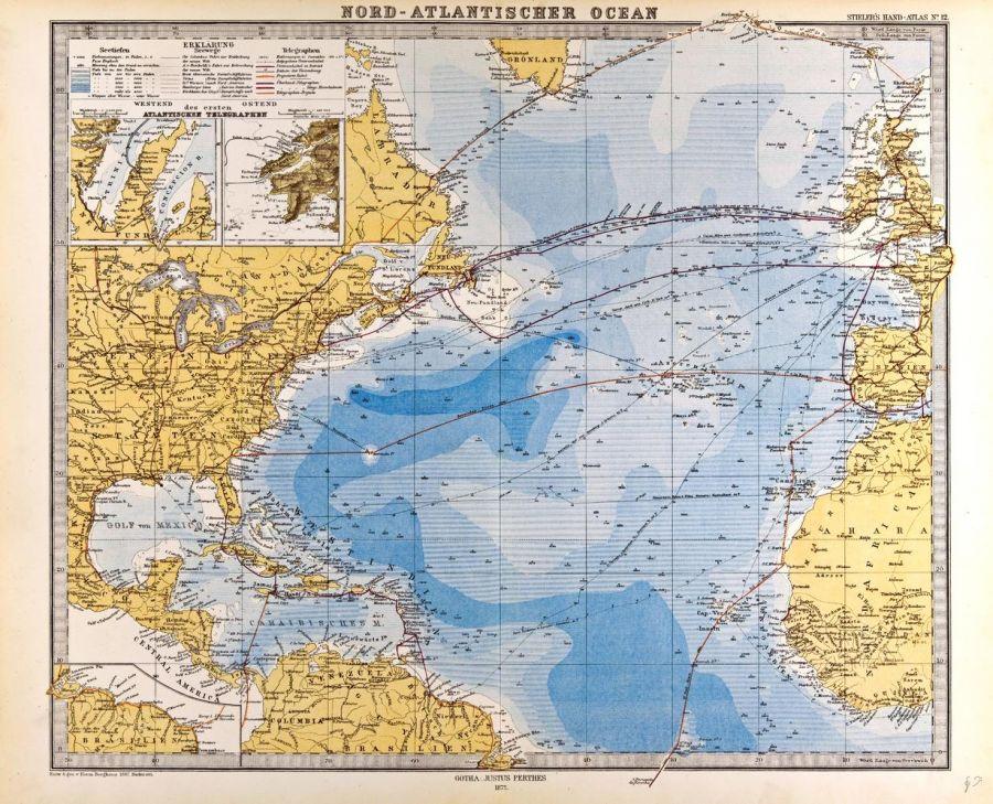 North Atlantic Ocean Map In German Gotha Justus Perthes 1872 Atlas