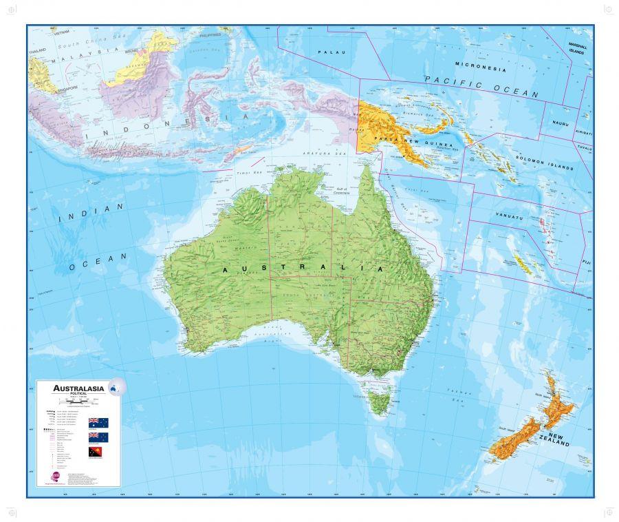 Australasia Political Wall Map