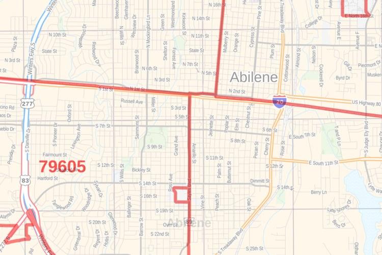 Abilene Tx Zip Code Map