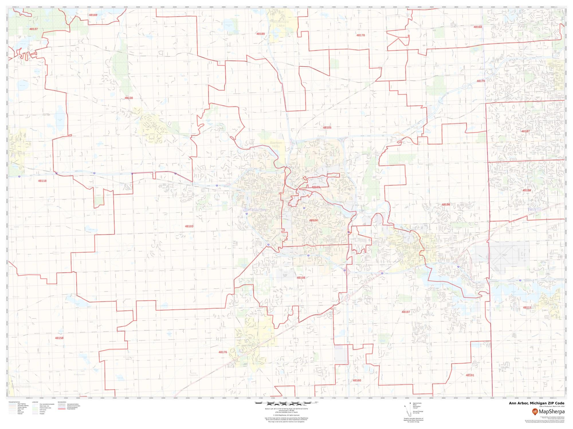 Ann Arbor ZIP Code Map, Michigan