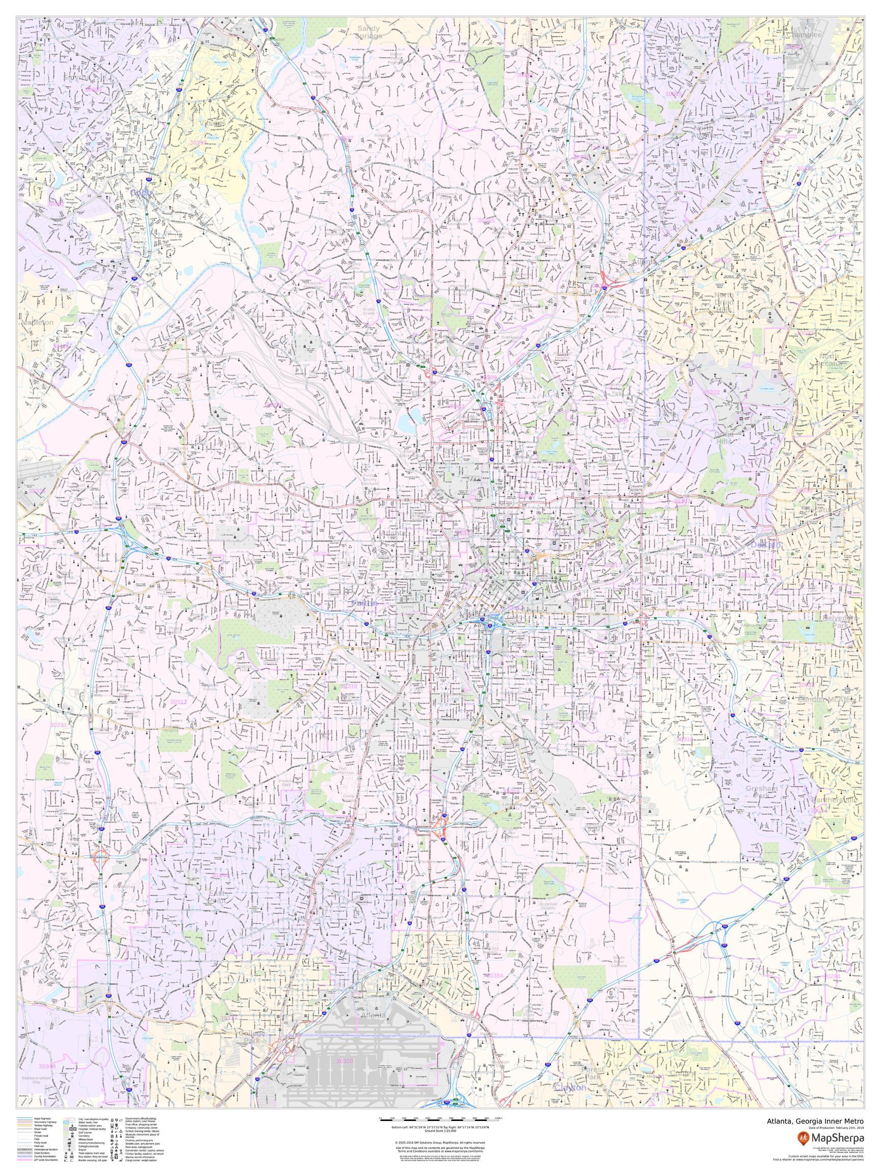 Atlanta, Georgia Inner Metro - Portrait Map