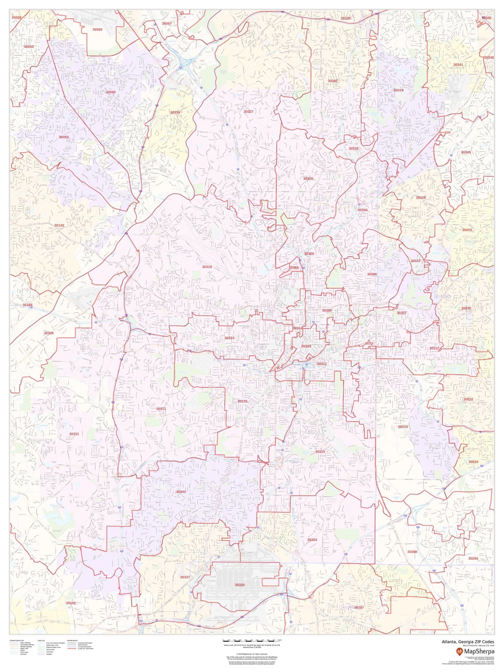 Image of: Atlanta Georgia Zip Codes Map