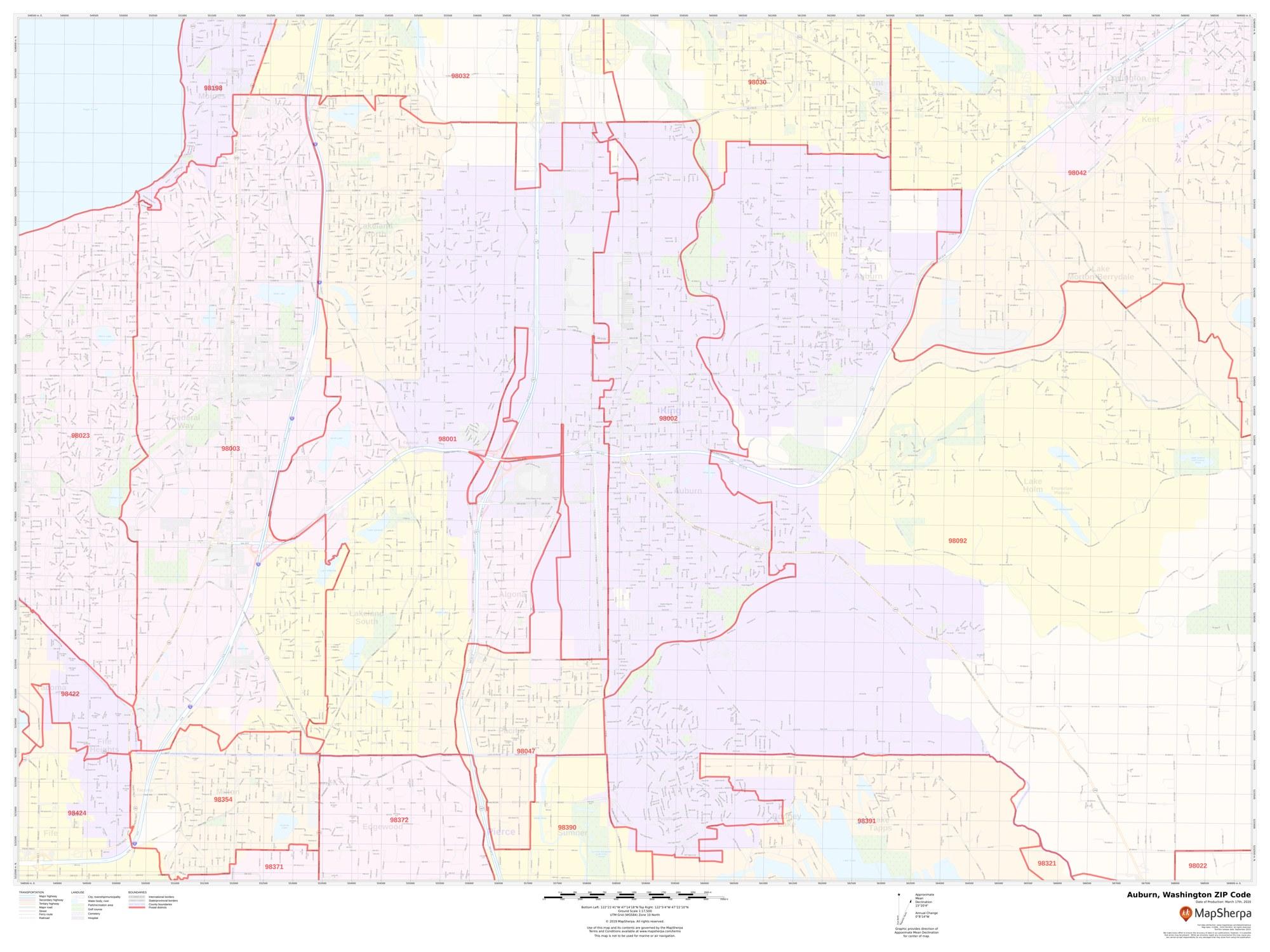 Auburn Wa Zip Code Map