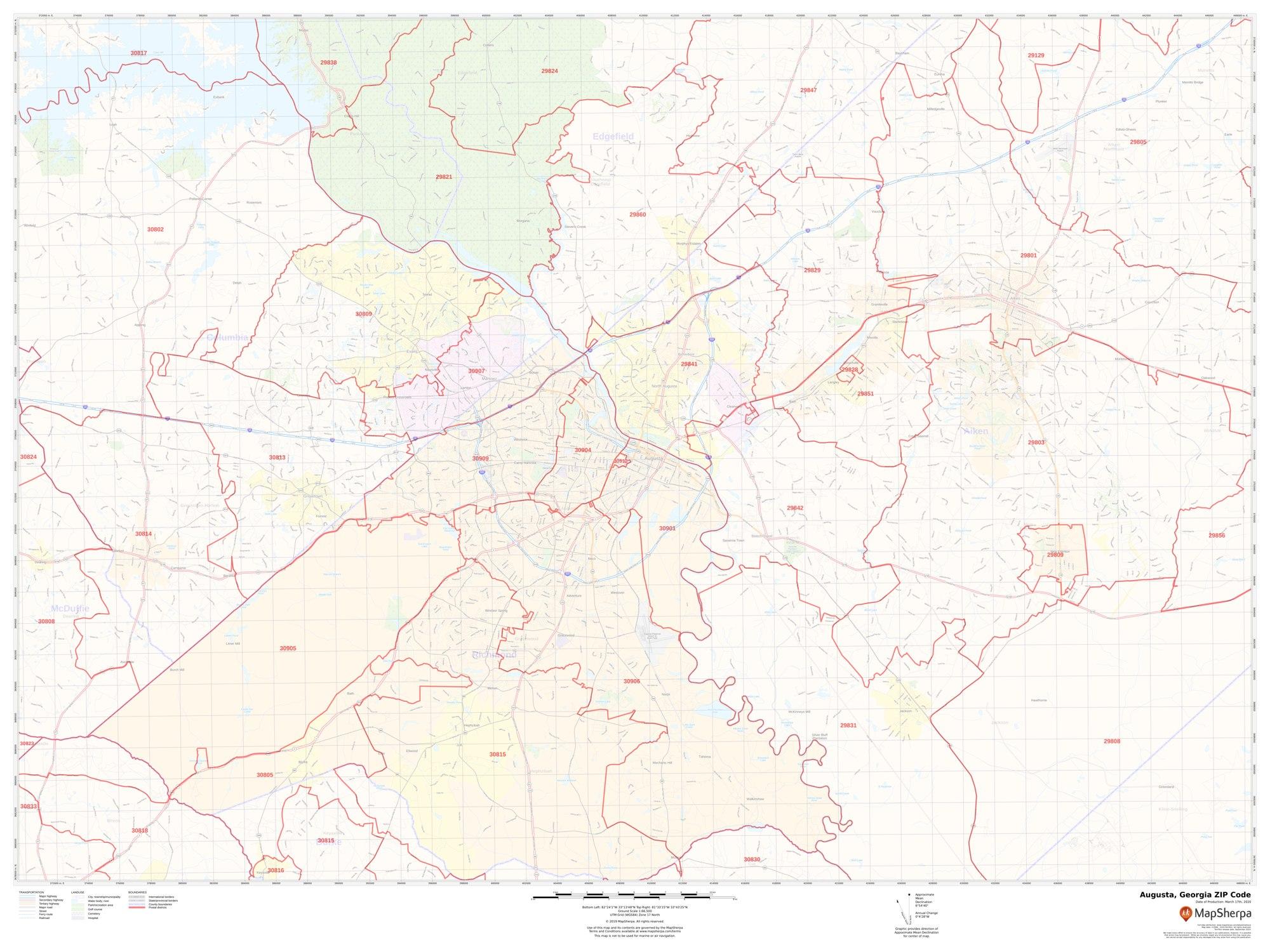 Image of: Augusta Ga Zip Code Map