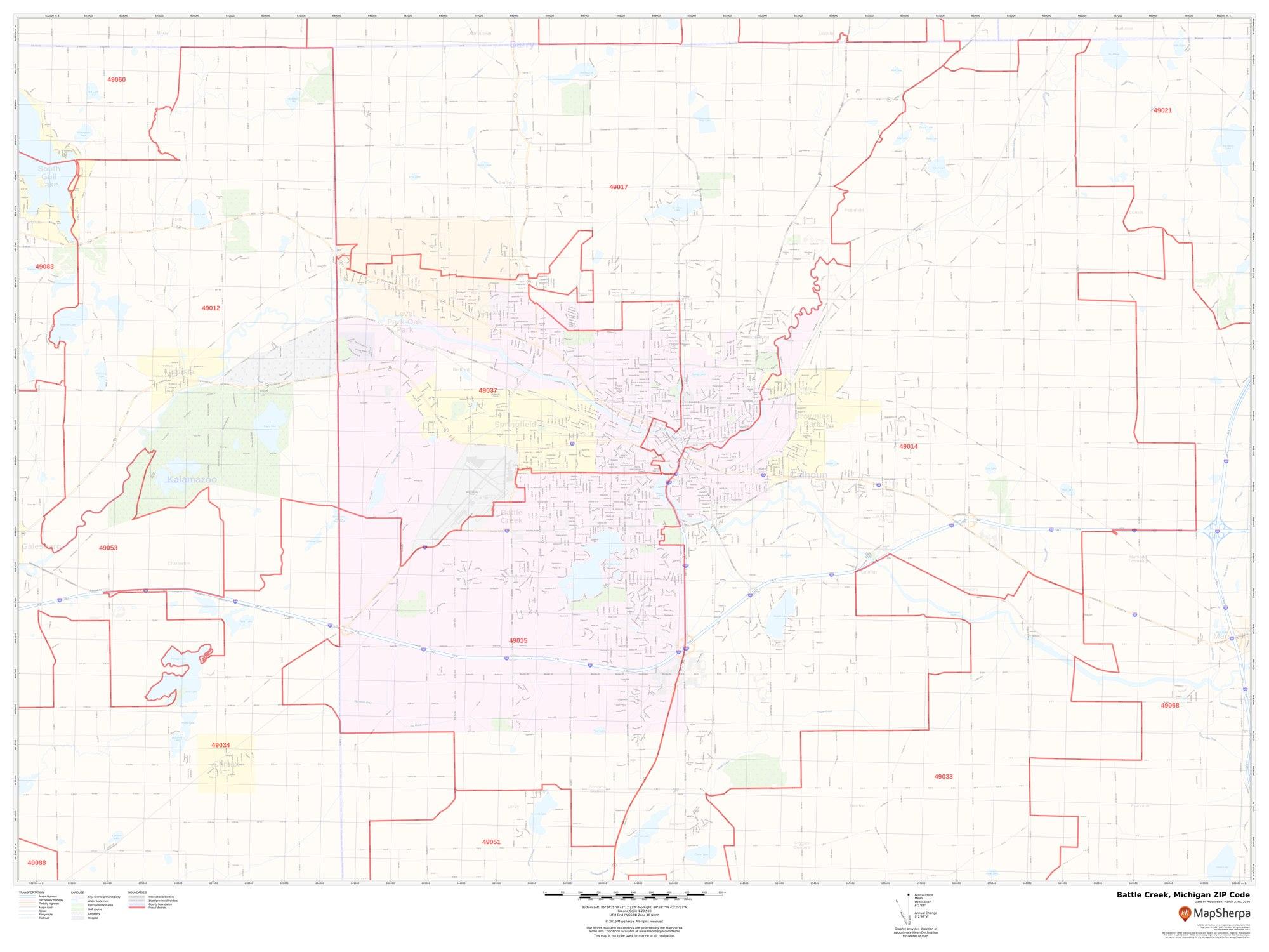 Battle Creek Michigan Zip Code Map Battle Creek MI Zip Code Map