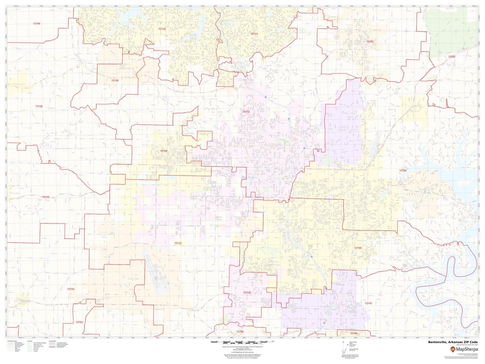 Image of: Bentonville Ar Zip Code Map
