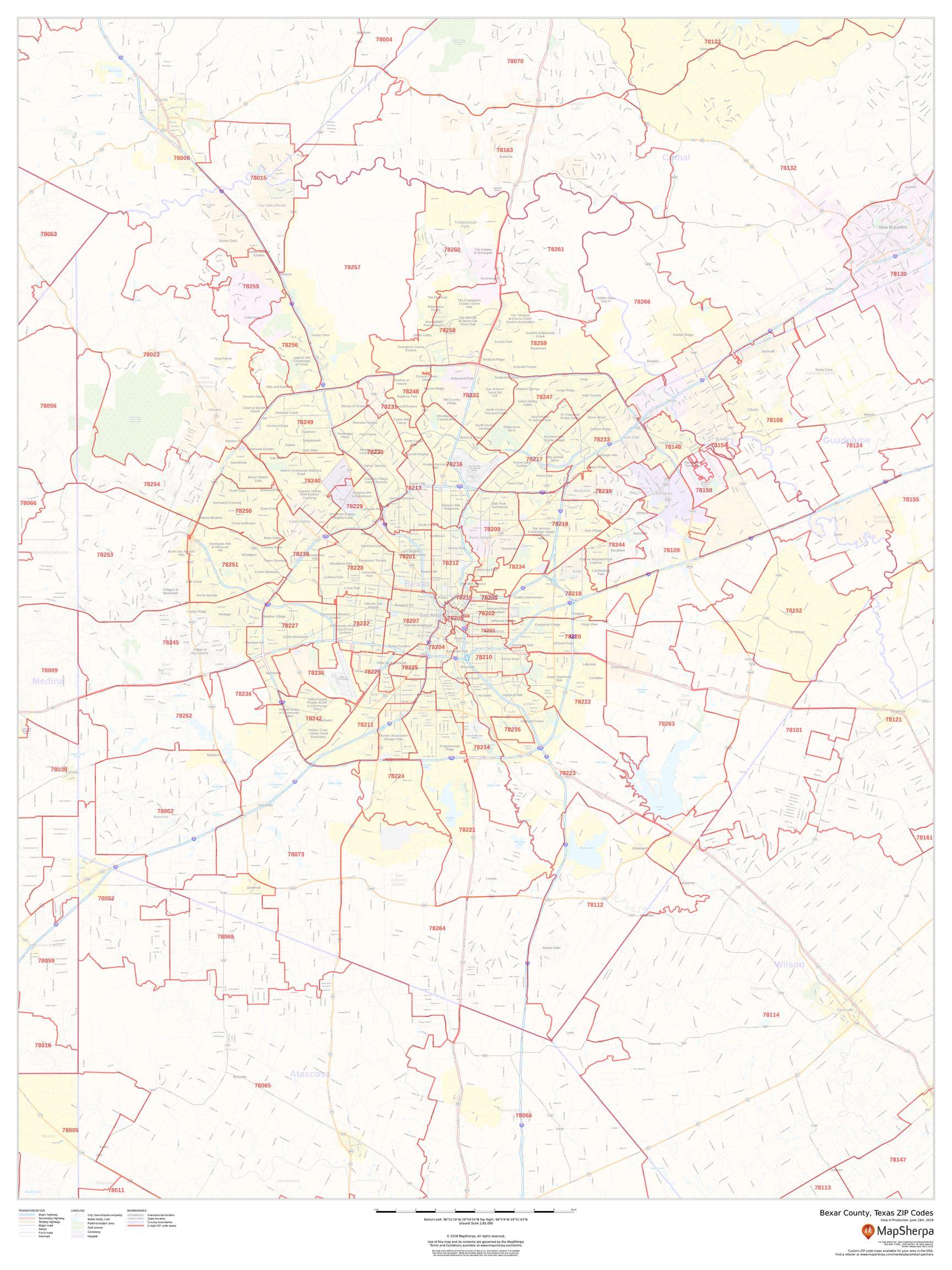 Bexar County ZIP Code Map (Texas)