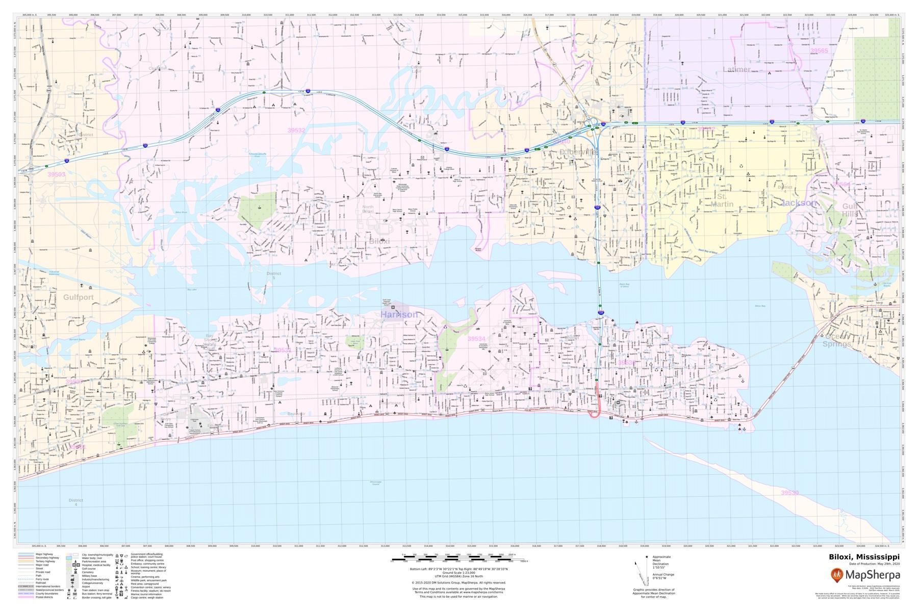 Biloxi Map Mississippi