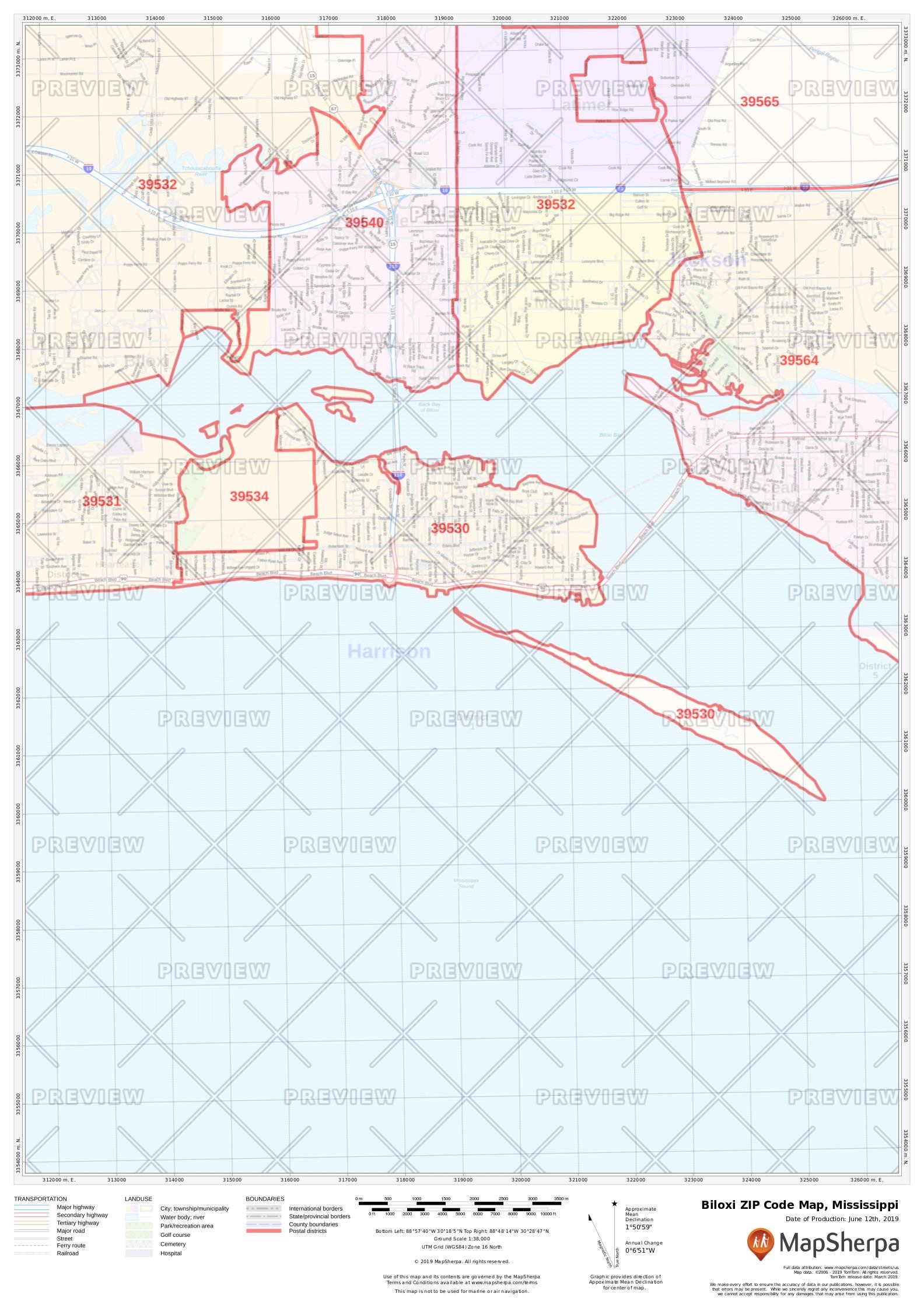 Biloxi Ms Zip Code Map