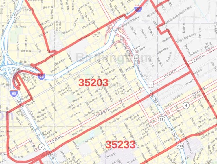 Birmingham Zip Code Map Birmingham AL Zip Code Map