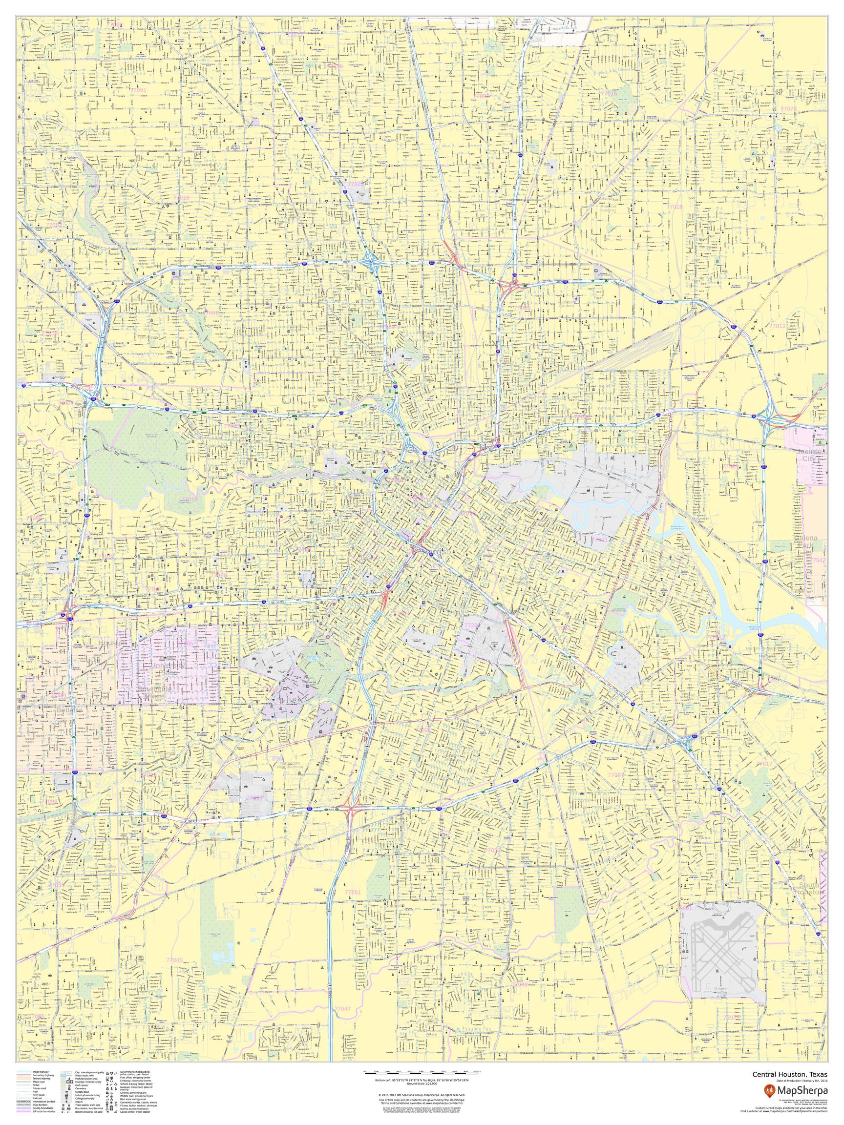 Central Houston Map, Texas - Portrait