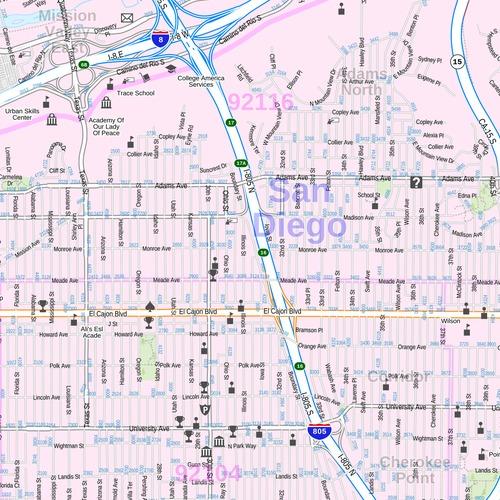 Central San Diego Map, California - Landscape