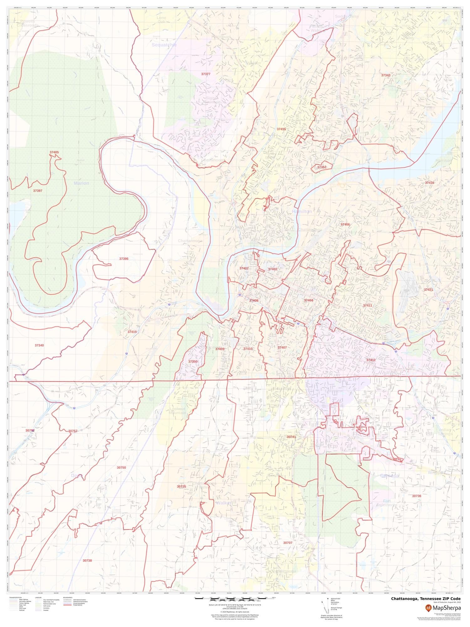 Chattanooga Zip Code Map Chattanooga TN Zip Code Map