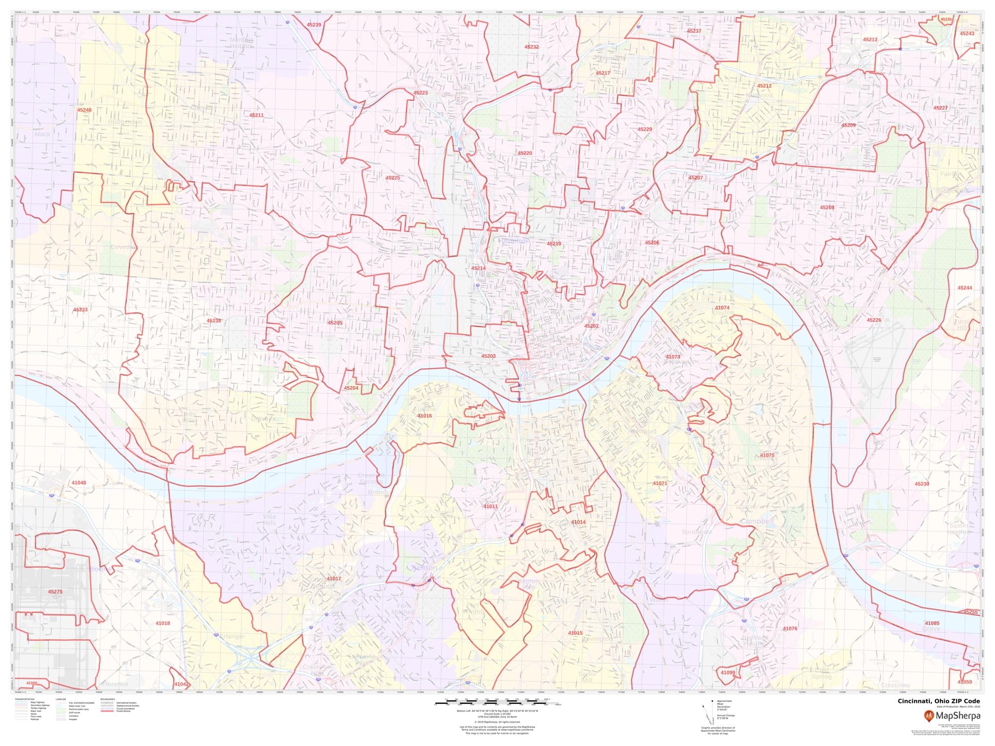 Cincinnati ZIP Code Map, Ohio on
