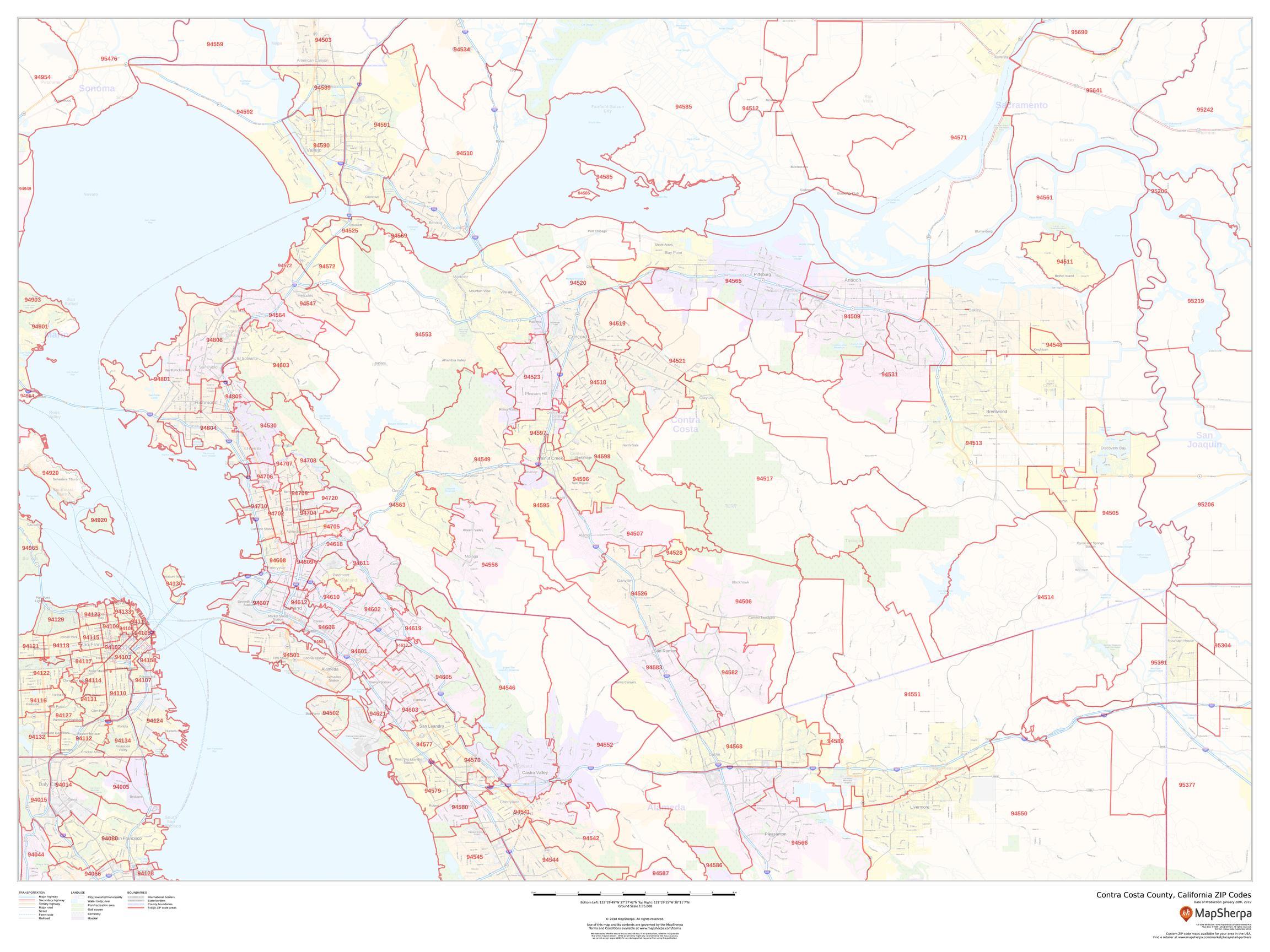 Image of: Contra Costa County Zip Code Map California