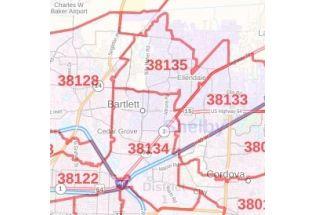 Bartlett ZIP Code Map, Tennessee