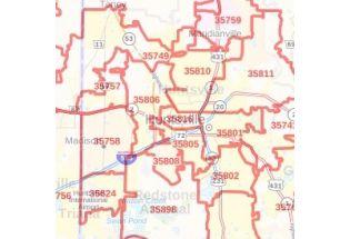 Huntsville ZIP Code Map, Alabama