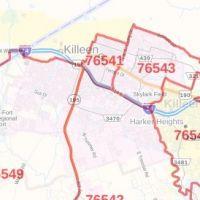 Killeen Tx Zip Code Map