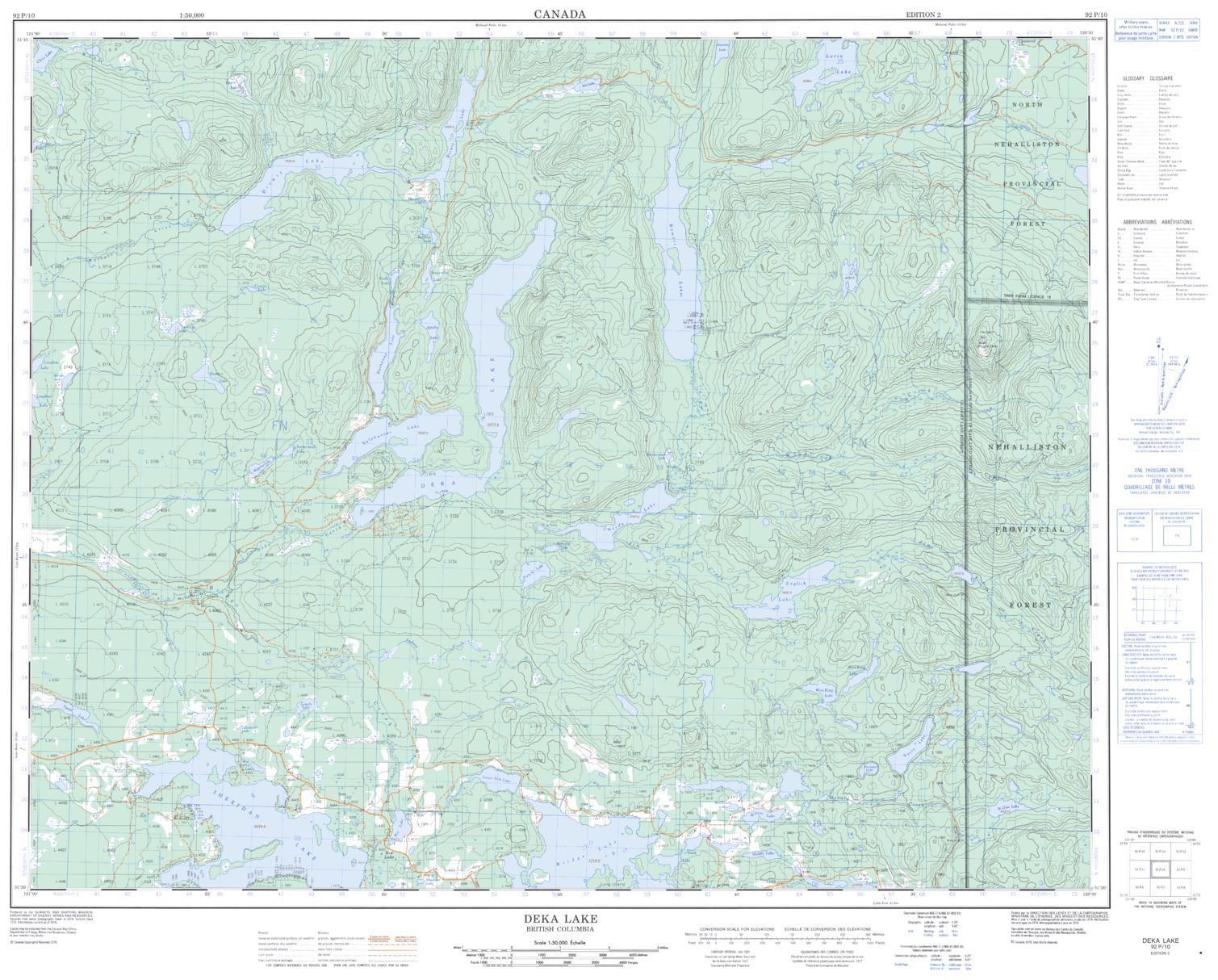 Topographic Map Of Deka Lake Bc