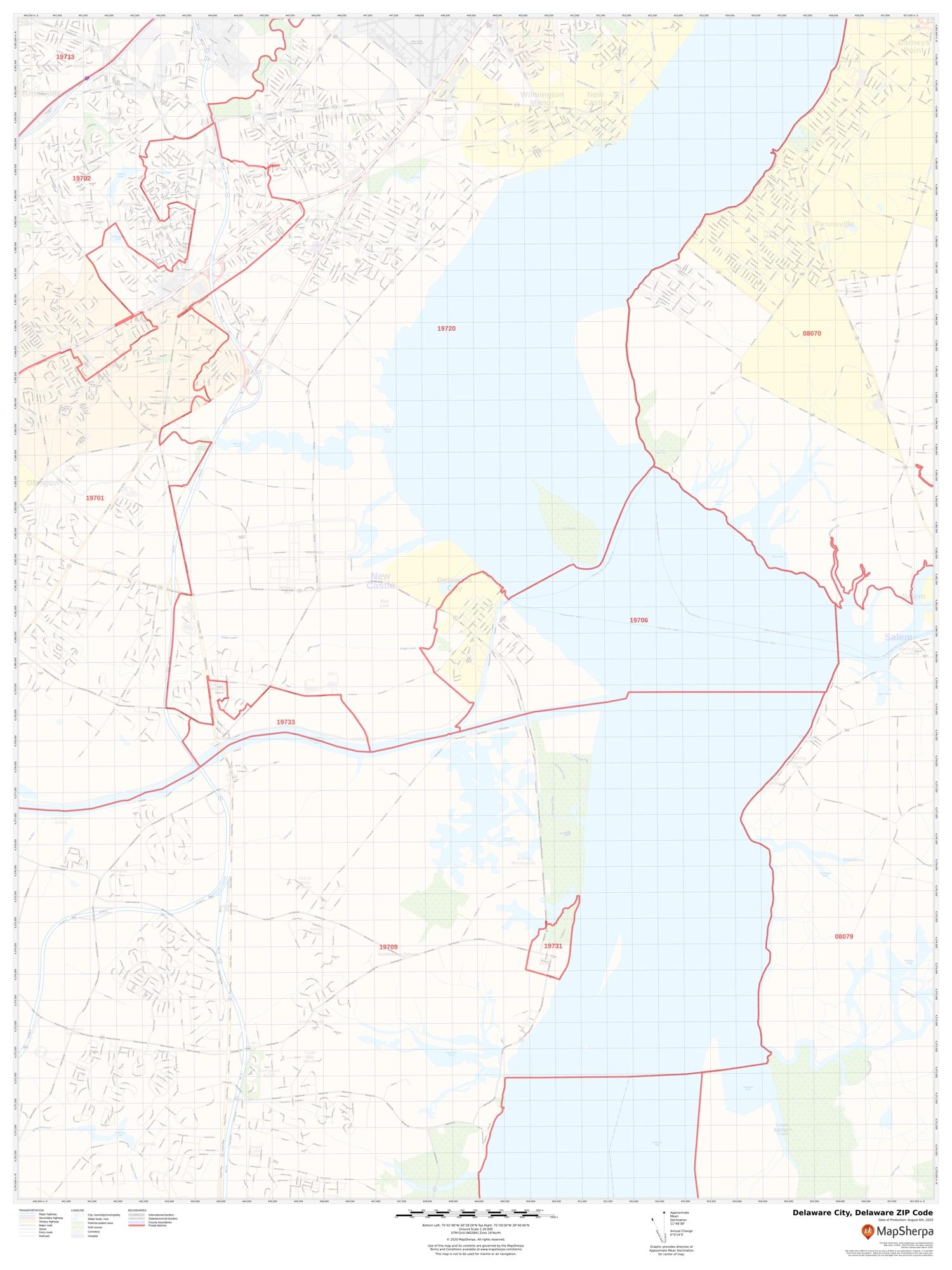 Delaware City De Zip Code Map