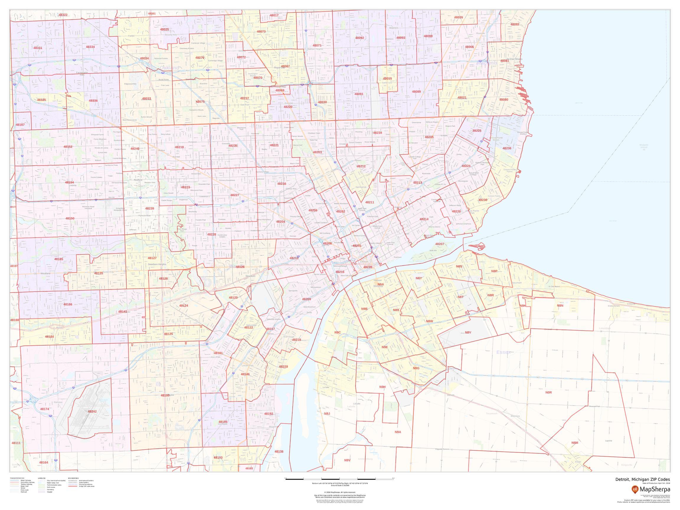 Detroit Zip Codes Map, Michigan ZIP Codes