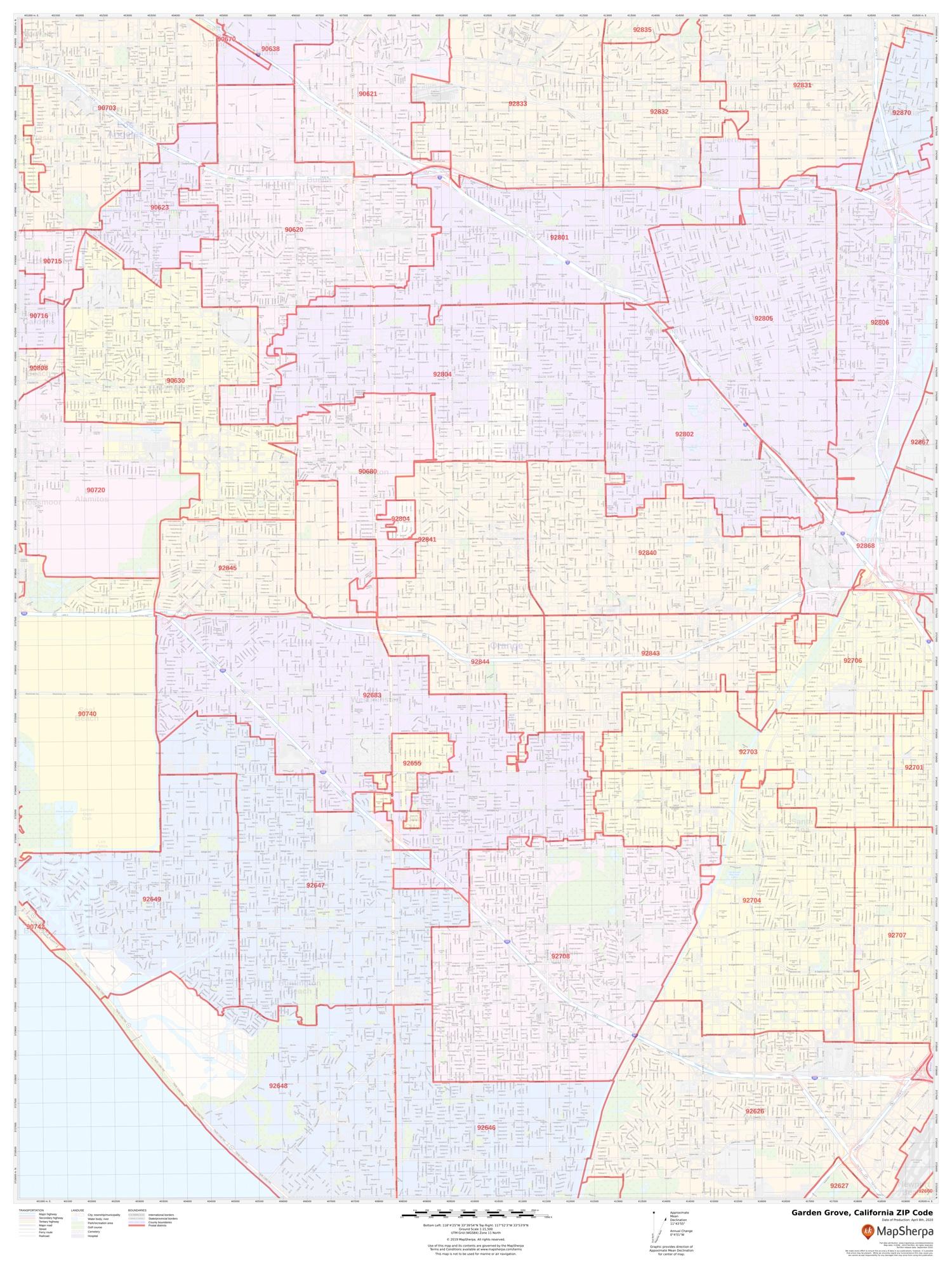 Garden Grove Ca Zip Code Map