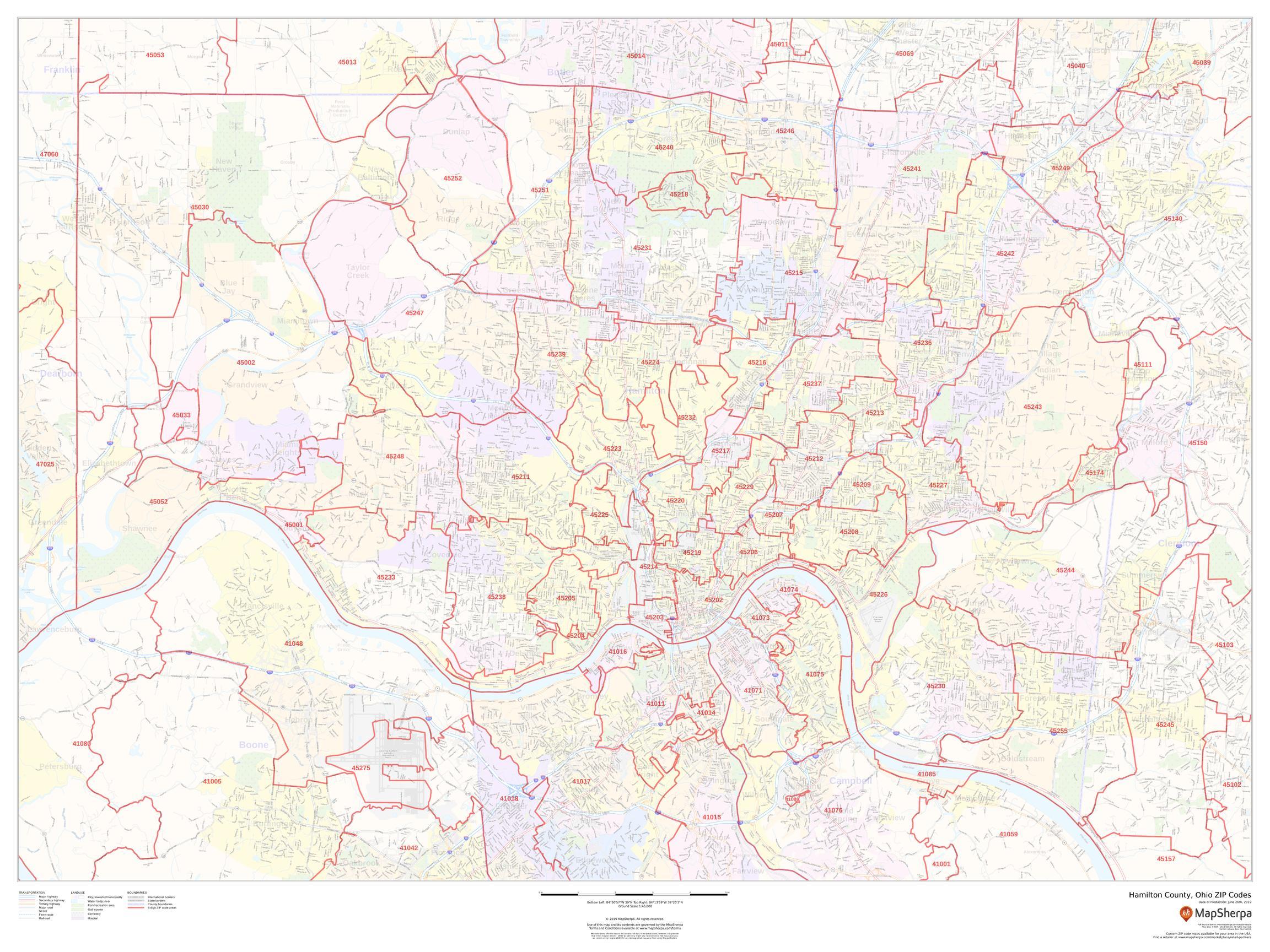 Picture of: Hamilton County Ohio Zip Code Map