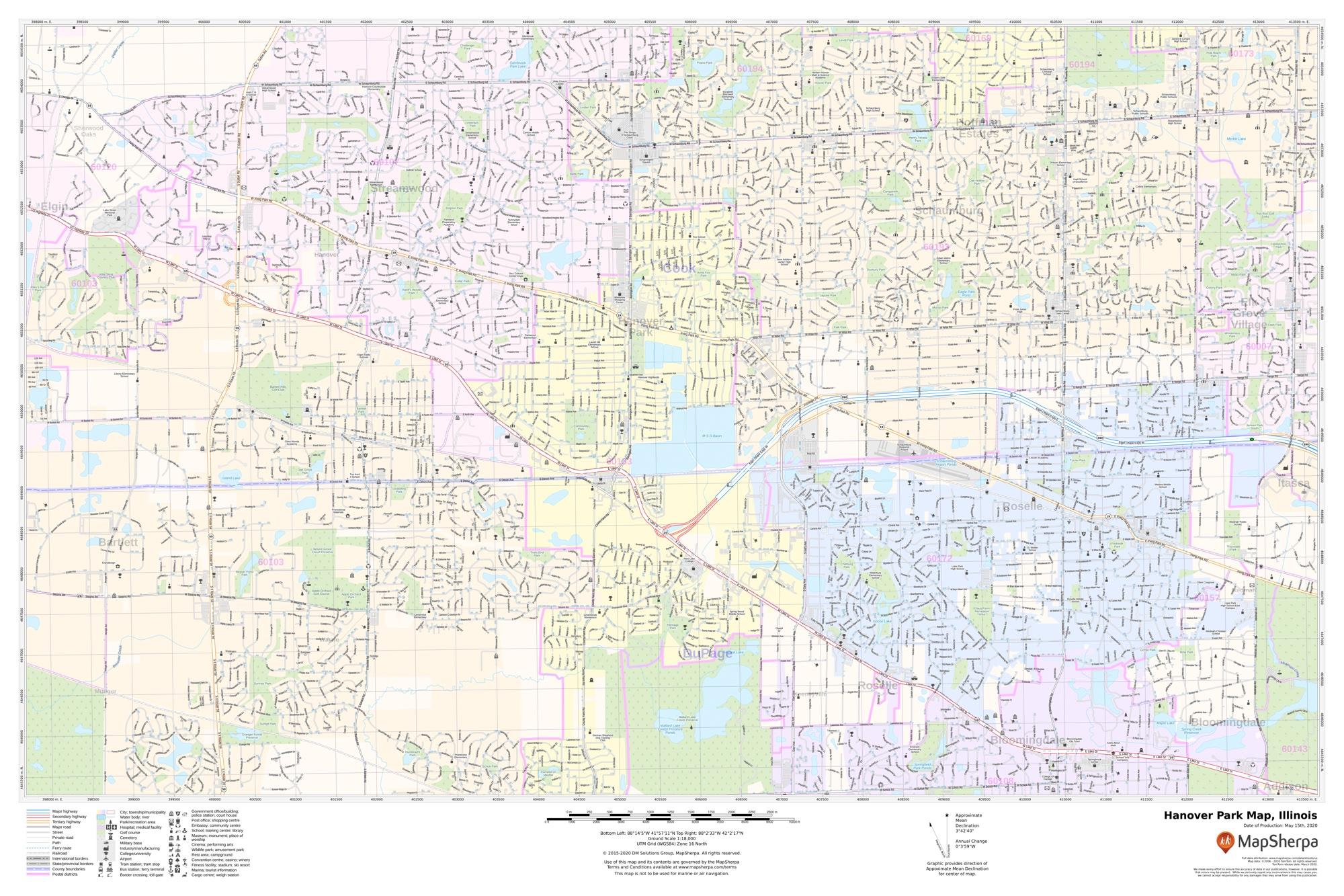 Hanover Park Map, Illinois