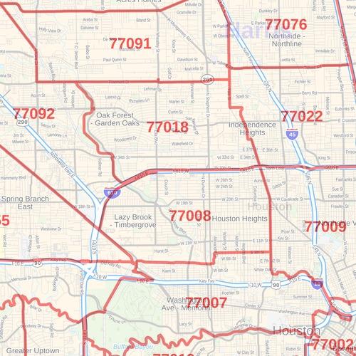 Harris County ZIP Code Map (Texas)