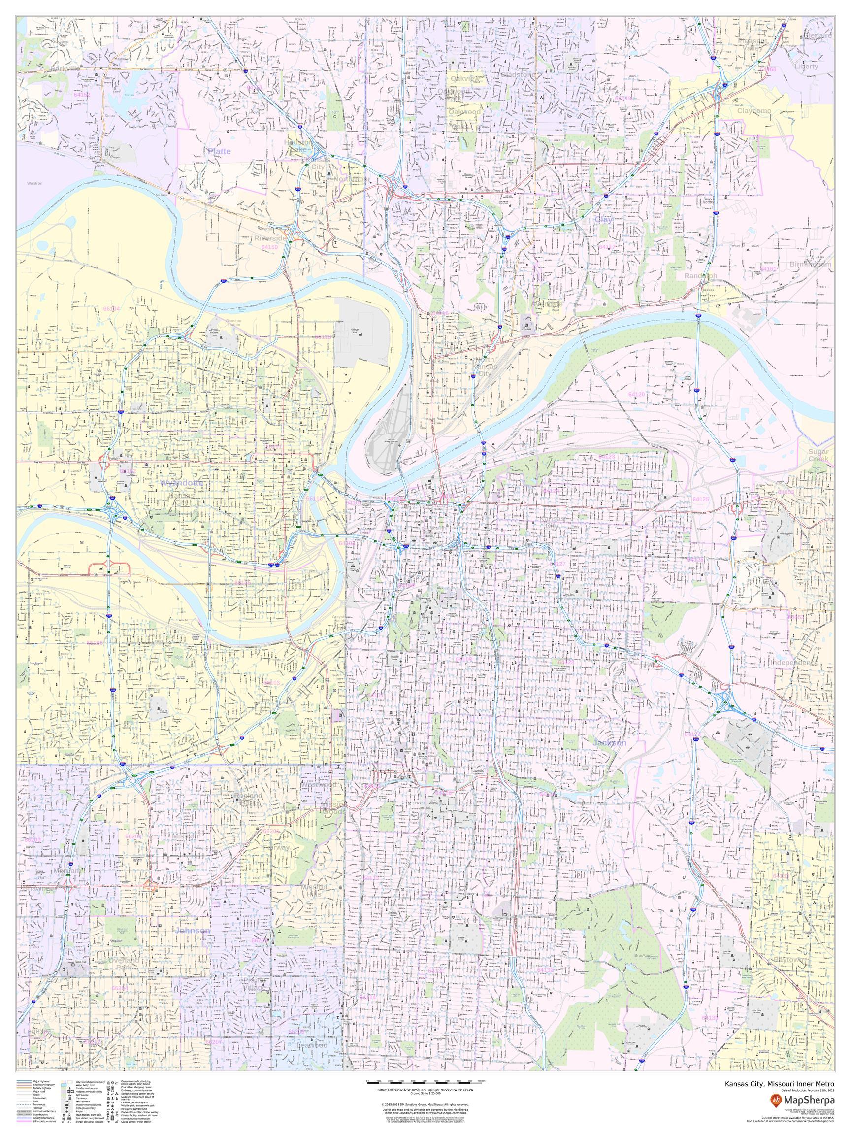 Kansas City, Missouri Inner Metro - Portrait Map