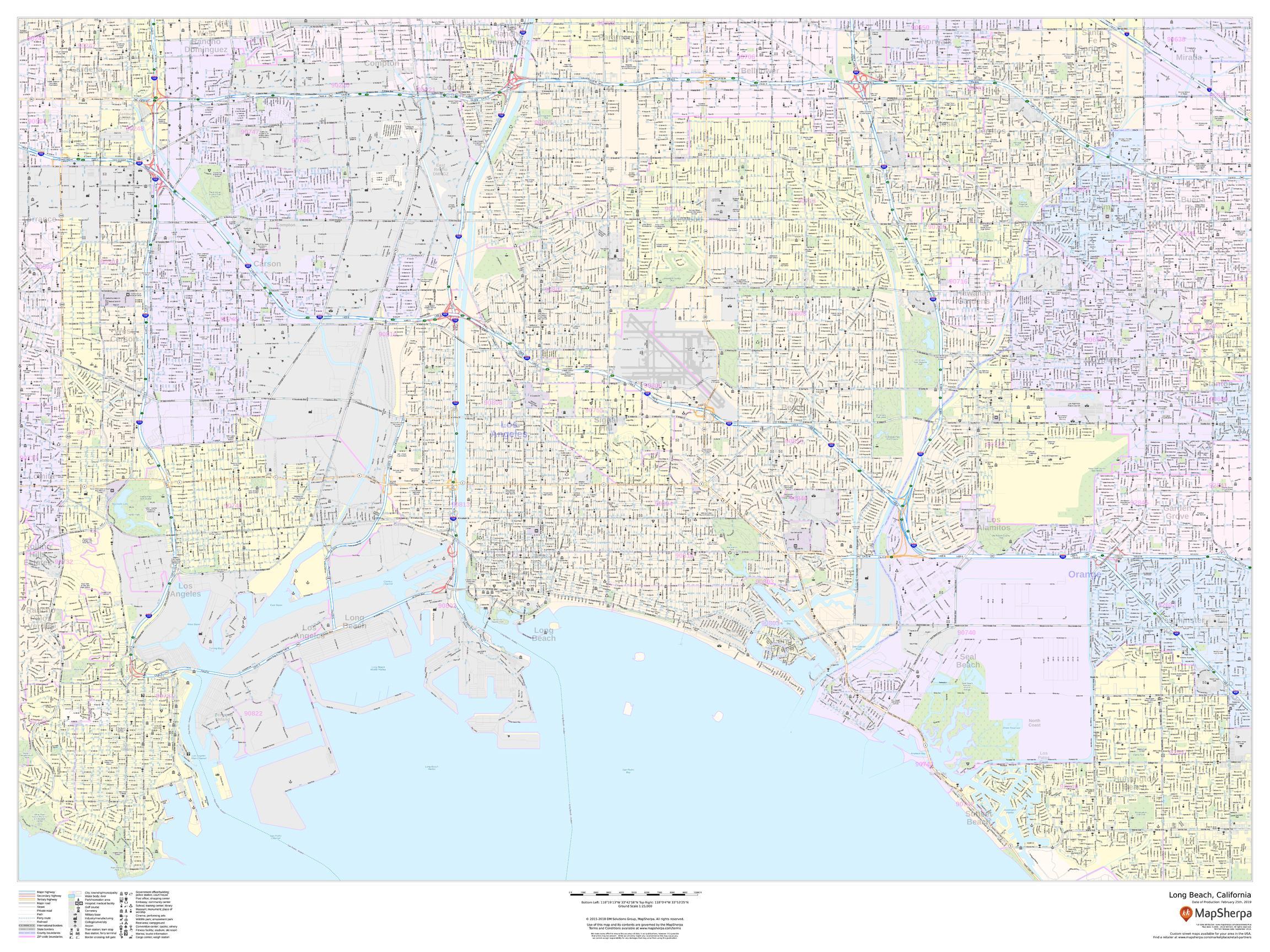 Long Beach, California - Landscape Map