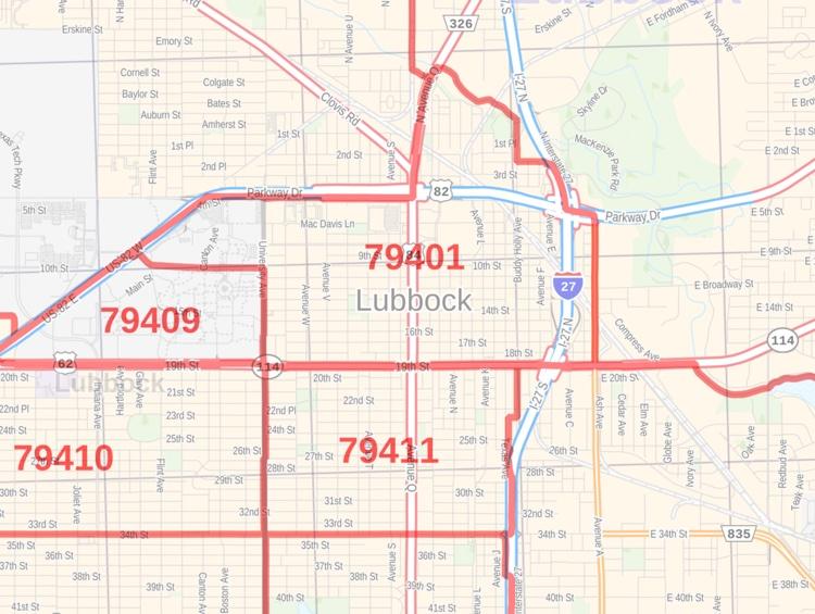 Lubbock Zip Code Map Texas