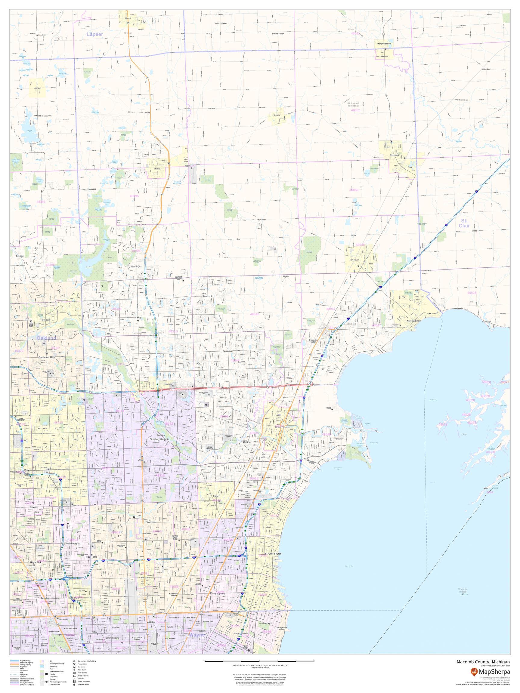 Macomb County, Michigan Map