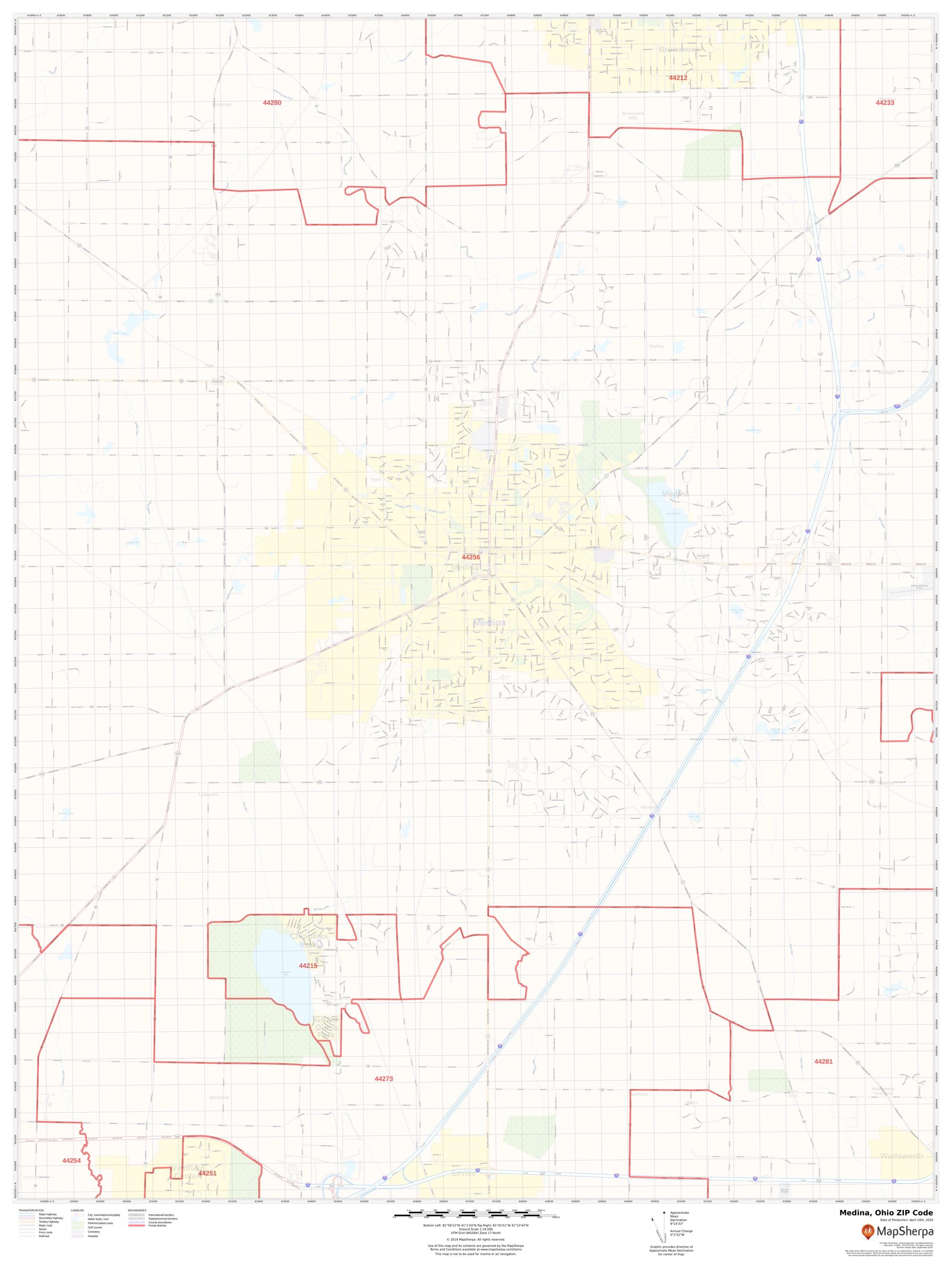 Picture of: Medina Ohio Zip Code Map