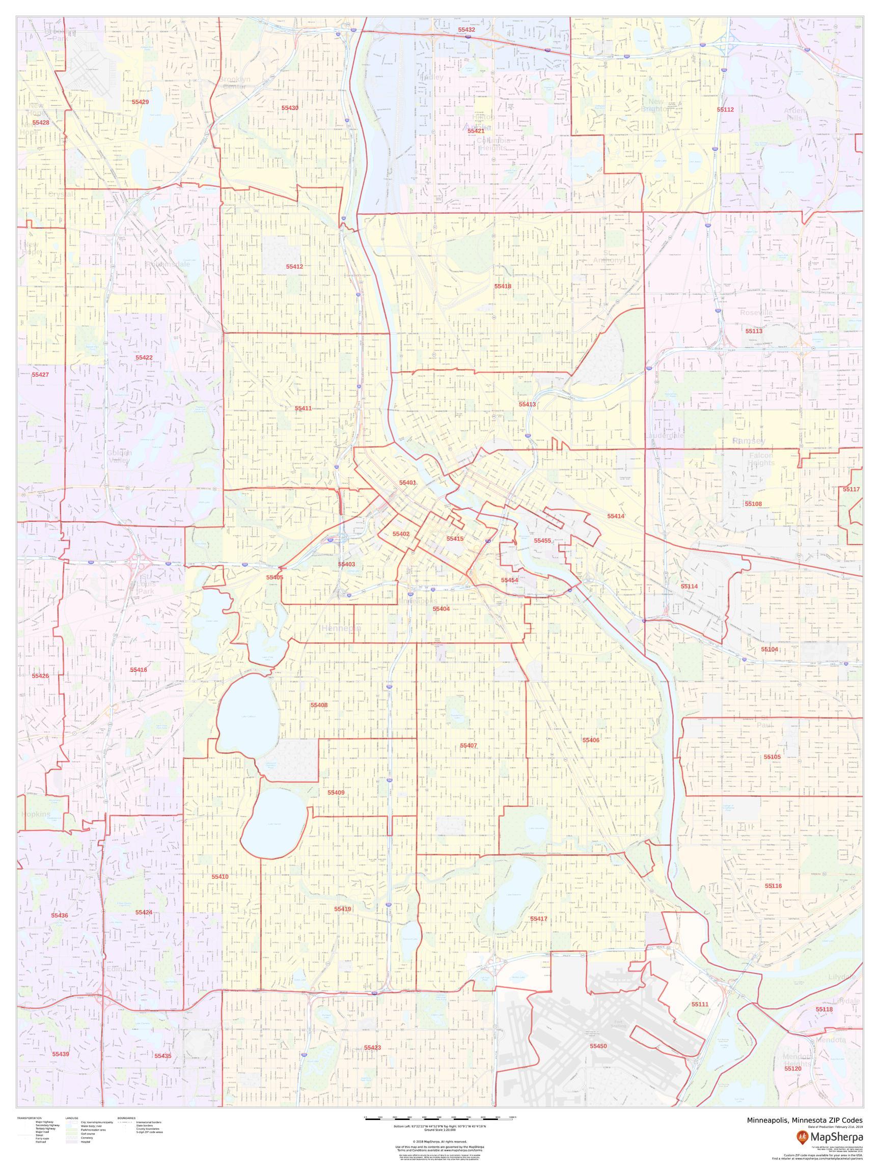 Minneapolis, Minnesota ZIP Codes Map