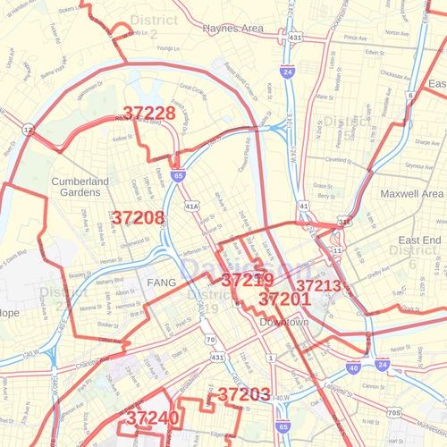 nashville tennessee zip code map Nashville Tn Zip Code Map nashville tennessee zip code map