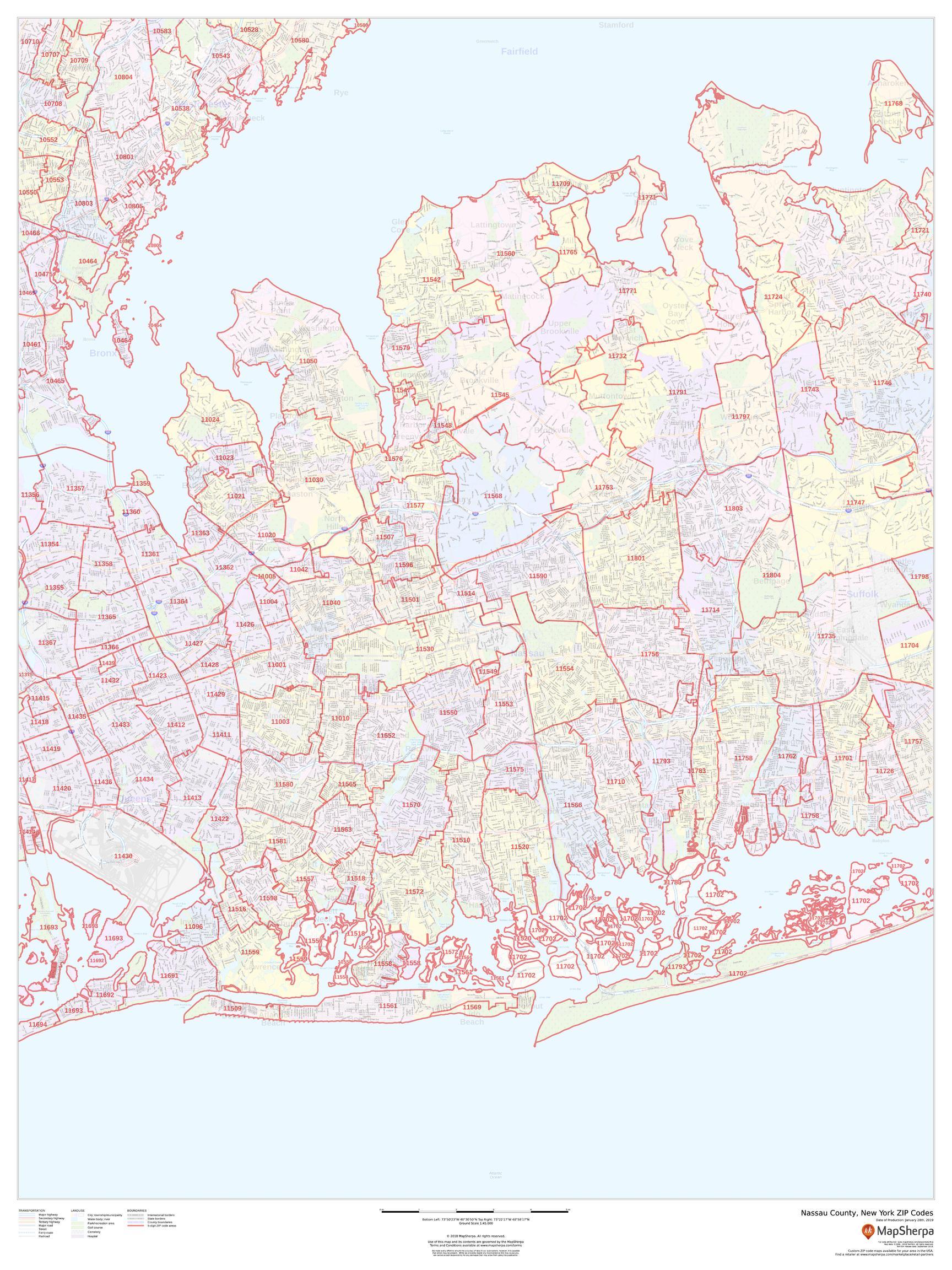 Nassau County Zip Code Map New York