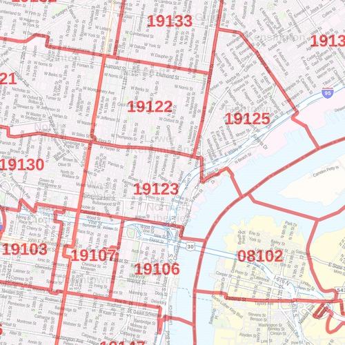 Philadelphia Zip Code Map Pennsylvania Zip Codes