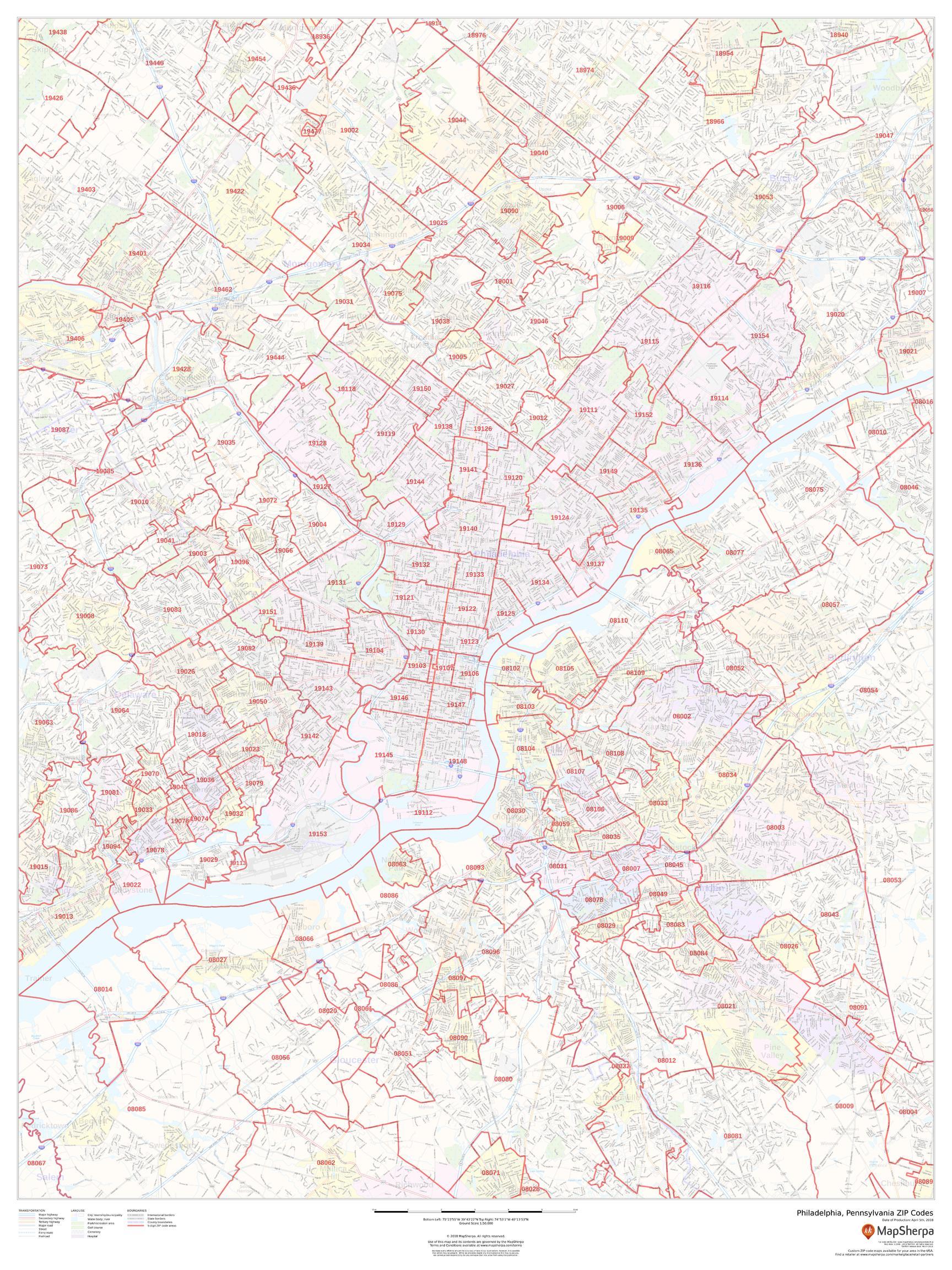 Image of: Philadelphia Pa Zip Code Map