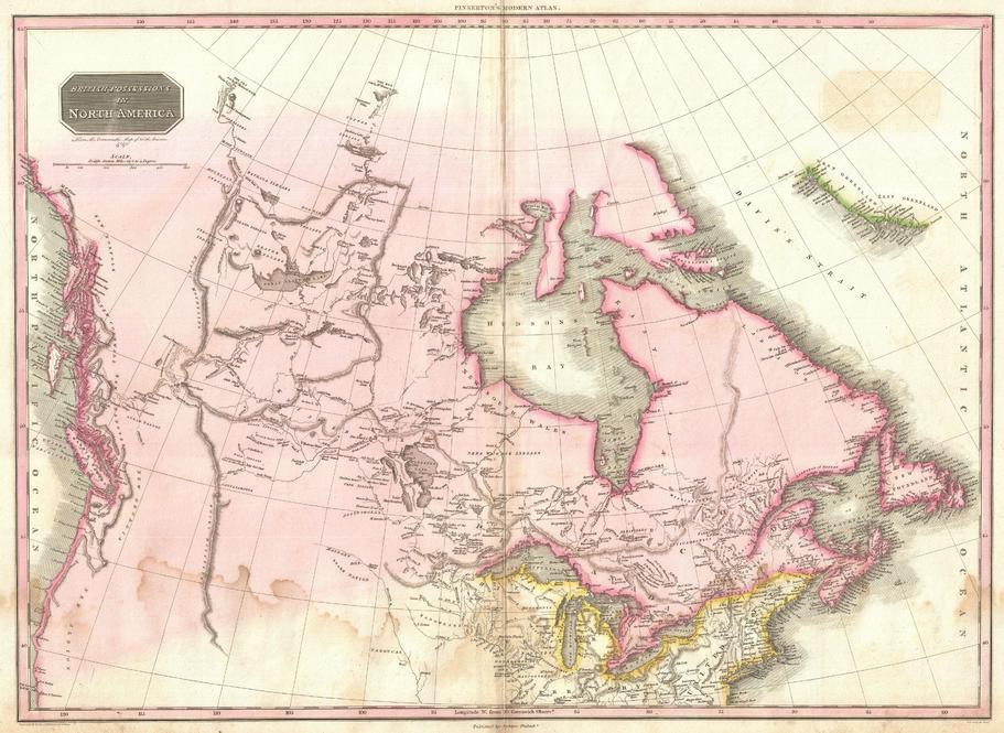 Pinkerton Map of British North America or Canada (1818)