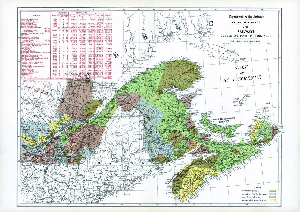 Railways Quebec And Maritime Provinces 1906