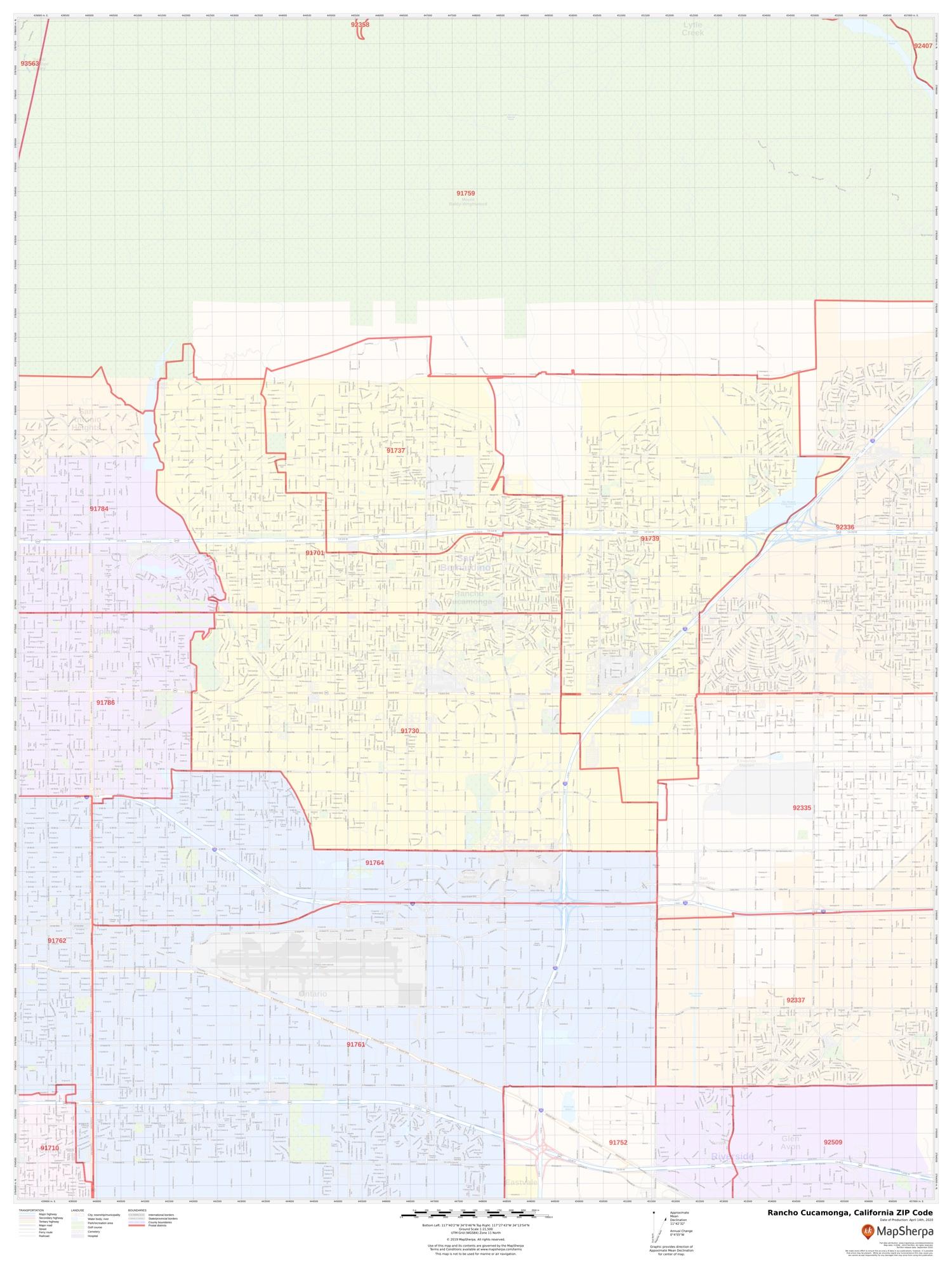 Rancho Cucamonga Ca Zip Code Map