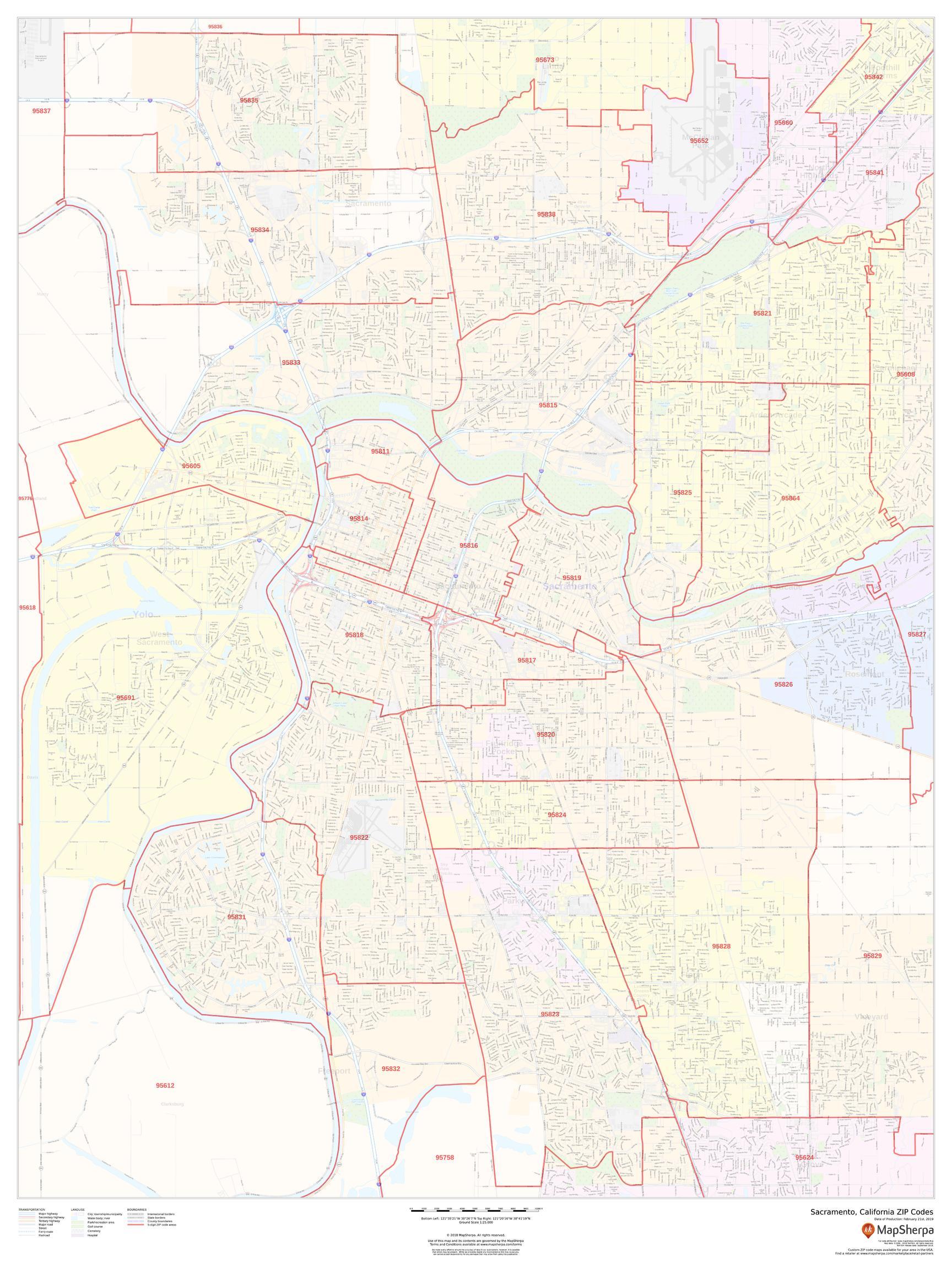 Sacramento Area Zip Code Map Sacramento Zip Code Map