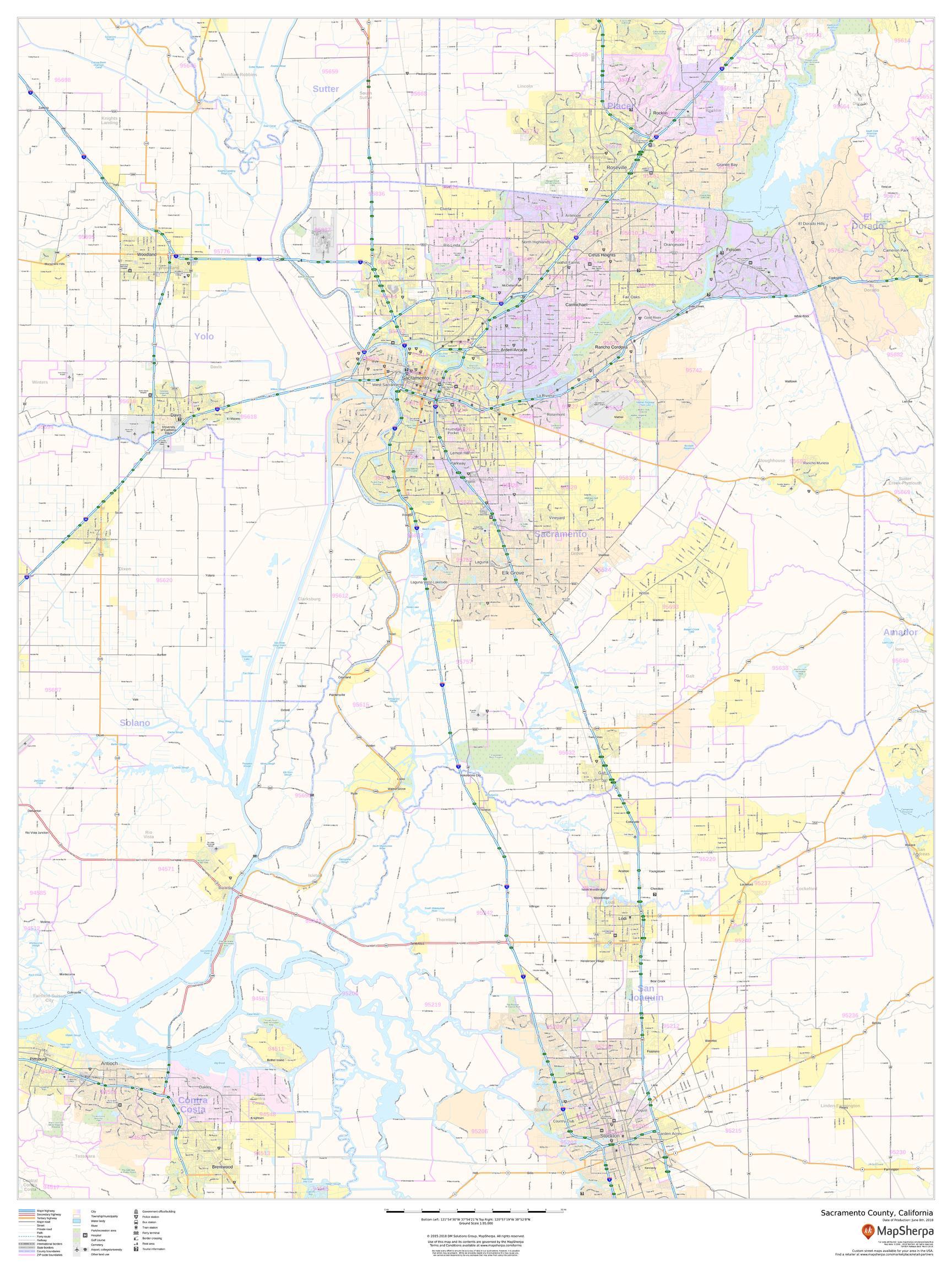 Sacramento County Map (California)